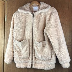 Vintage Jackets & Coats - Cream Tan Teddy Jacket